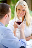 Romantic couple have a toast — Stock Photo