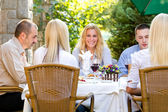 Young business people at the lunch restaurant — Stock Photo