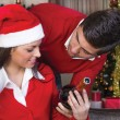 Couple celebrate Christmas night — Stock Photo #33008243