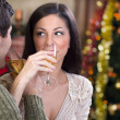 Couple celebrate Christmas night — Stock Photo