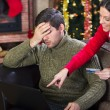 Full costs on Christmas Eve,couple on christmas night — Stock Photo