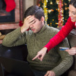 Full costs on Christmas Eve,couple on christmas night — Stock Photo #33009525