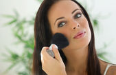 Makeup. Applying Make-up Cosmetics Brush — Stock Photo