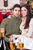 Couple in Christmas night — Stock Photo