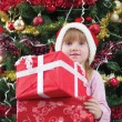 Stock Photo: Little girl smiling with present near the Christmas tree