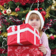 Little girl smiling with present near the Christmas tree — Stock Photo