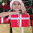 Happy little boy smiling with gift box near the Christmas tree — Stock Photo #33968235