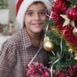 Stock Photo: Boy standing next to the Christmas tree