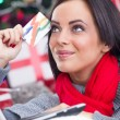 Happy Smiling Woman Using Credit Card to Internet Shop — Stock Photo