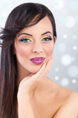 Brunette model portrait. make up, false eyelashes — Stock Photo