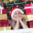 Child in Christmas night — Stock Photo