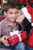 Happy family at Christmas night — Foto Stock