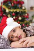 Unhappy boy on Christmas Eve — Stock Photo