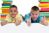 Two boys with books — Stock Photo