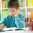 Little boy at home studying — Stock Photo