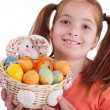 Portrait of little girl with Easter egg basket — Stock Photo #41752531