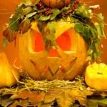 Scary halloween pumpkins — Stock Photo