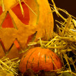 Scary halloween pumpkins,close up — Stock Photo