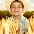 Smiling young boy with straw hat in a field of wheat — Stock Photo