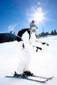 Girl On the Ski — Stock Photo