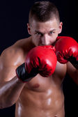 Boxer with red gloves  — Stock Photo
