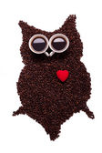 owl, made of coffee seeds and two caps,isolated on white backgr — Stock Photo