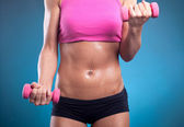 Young fit woman lifting dumbbells  — Stock Photo