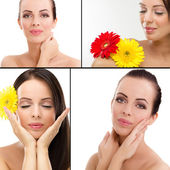 Collage off attractive smiling woman portrait — Stock Photo