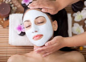 Spa therapy for young woman having facial mask at beauty salon — Foto Stock