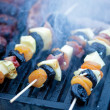 Meat and vegetable skewer on barbecue grill with fire — Stock Photo #48195911