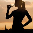 Silhouette of a young sportive woman drinking water — Stock Photo #49010763