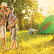 Camp in the tent - two brothers on the camping — Stock Photo #49014307