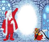 圣诞老人在冰屋 — 图库照片
