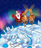Ilustrace létajících santa claus — Stock fotografie