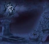 Mystiska natt kyrkogården på halloween — Stockfoto