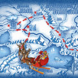 The route of Santa Claus — Stock Photo