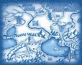 Drawn map — Stock Photo