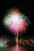 Fireworks in the village Camogli, Italy — Stock Photo