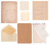 Set of old paper sheets, envelope and card — Stock Photo