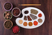Palette of colors of herbs and spices — Stock Photo