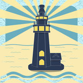 Poster with the lighthouse in vintage style vector — Stock Vector