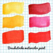 Insieme di pennellate colorate ad acquerello — Vettoriale Stock