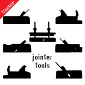Collection of silhouettes antique woodworking tools, isolated on white — Stock Vector