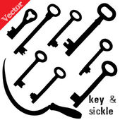 Set of silhouettes old keys and sickle, isolated on white — Stock Vector