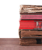 Stack of old books isolated on white — Stok fotoğraf