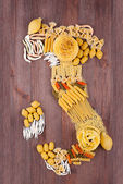 Map of Italy made of different varieties of pasta — Stock Photo
