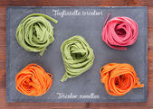 Tricolor Italian homemade noodles — Stock Photo
