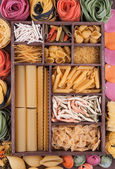 Large set of various Italian pasta and multicolor — Stock Photo