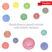 Hand-drawing pencil circles with fabric texture — Stock Vector