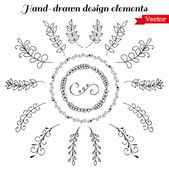 Hand Drawn wreath and design elements — Stock Vector